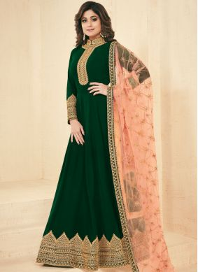 Shamita Shetty Faux Georgette Green Resham Floor Length Anarkali Suit