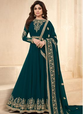 Shamita Shetty Faux Georgette Lace Floor Length Anarkali Suit