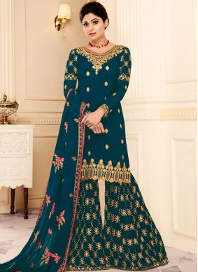 Shamita Shetty Faux Georgette Lace Teal Designer Pakistani Suit