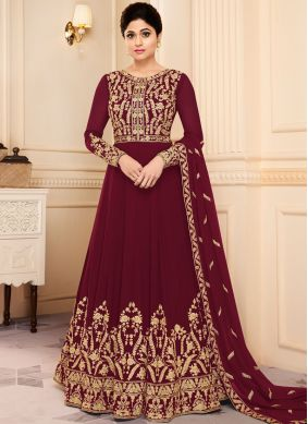 Shamita Shetty Faux Georgette Maroon Floor Length Anarkali Suit