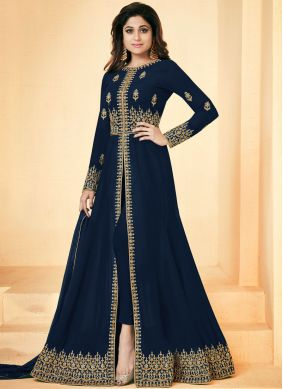 Shamita Shetty Faux Georgette Party Floor Length Anarkali Suit