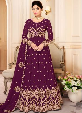 Shamita Shetty Faux Georgette Purple Resham Floor Length Anarkali Suit