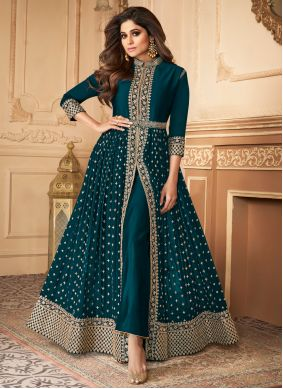 Shamita Shetty Faux Georgette Resham Designer Floor Length Suit