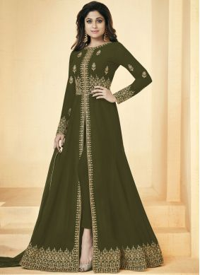 Shamita Shetty Faux Georgette Resham Floor Length Anarkali Suit
