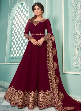 Shamita Shetty Floor Length Anarkali Suit For Sangeet