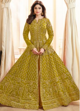 Shamita Shetty Green Embroidered Long Choli Lehenga