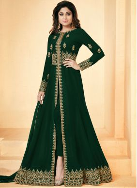 Shamita Shetty Green Festival Floor Length Anarkali Suit