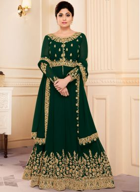 Shamita Shetty Green Wedding Floor Length Anarkali Suit