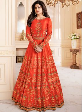 Shamita Shetty Intrinsic Orange Floor Length Anarkali Suit