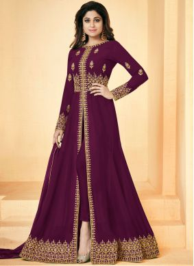 Shamita Shetty Magenta Faux Georgette Embroidered Floor Length Anarkali Suit