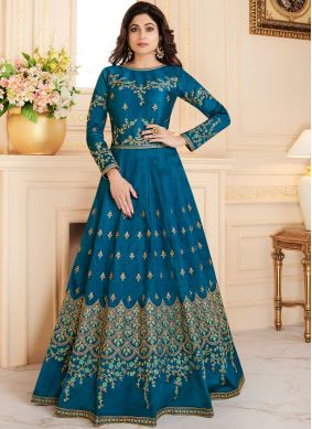Shamita Shetty Malbari Silk  Embroidered Floor Length Anarkali Suit
