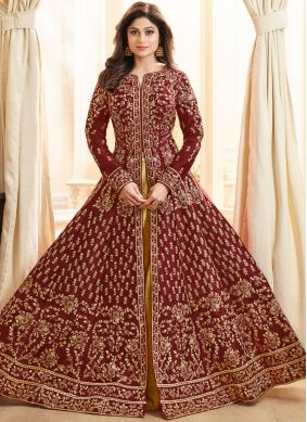Shamita Shetty Malbari Silk  Maroon Long Choli Lehenga