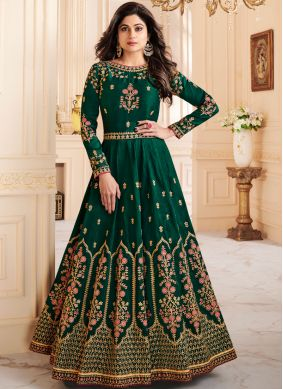 Shamita Shetty Malbari Silk  Resham Floor Length Anarkali Suit