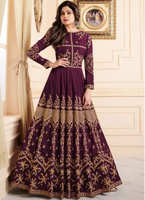 Shamita Shetty Malbari Silk  Resham Purple Floor Length Anarkali Suit
