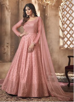 Shamita Shetty Net Pink Embroidered Floor Length Anarkali Suit