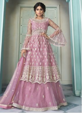 Shamita Shetty Net Pink Long Choli Lehenga