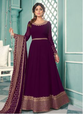 Shamita Shetty Purple Faux Georgette Floor Length Anarkali Suit