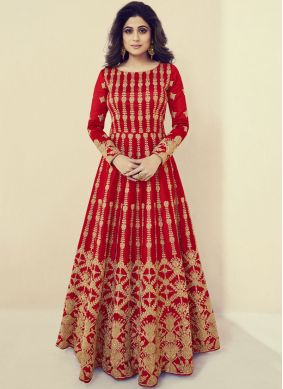 Shamita Shetty Red Art Silk Lace Floor Length Anarkali Suit