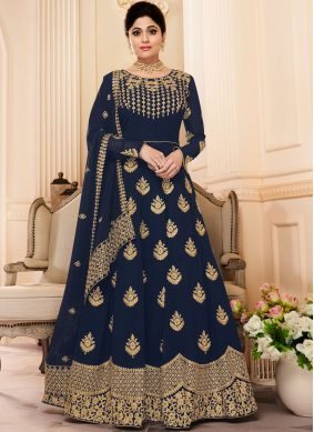Shamita Shetty Resham Blue Floor Length Anarkali Suit