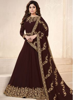 Shamita Shetty Resham Brown Faux Georgette Floor Length Anarkali Suit