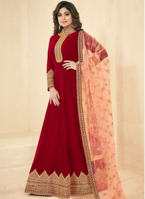 Shamita Shetty Resham Red Faux Georgette Floor Length Anarkali Suit