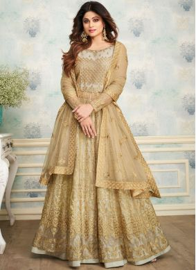 Shamita Shetty Satin Embroidered Beige Designer Lehenga Choli