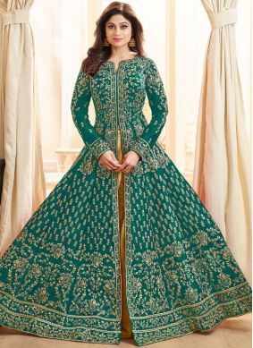 Shamita Shetty Sea Green Art Silk Long Choli Lehenga