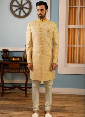 Sherwani Embroidered Art Banarasi Silk in Yellow