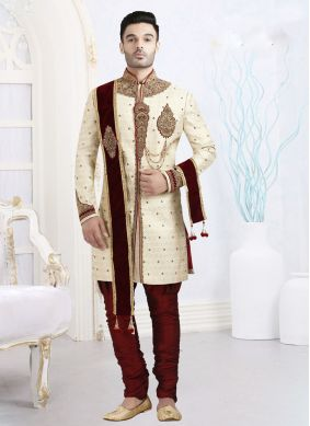Sherwani Embroidered Art Dupion Silk in Cream