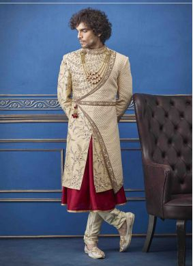 Sherwani Embroidered Pure Silk in Gold