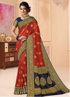 Shimmer Weaving Red Classic Saree