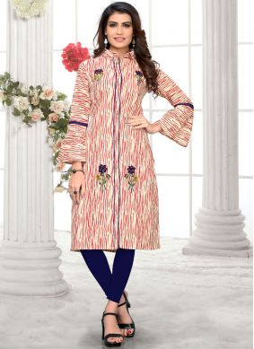 Sightly Embroidered Cotton Multi Colour Casual Kurti