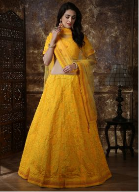 Yellow Silk A Line Lehenga Choli