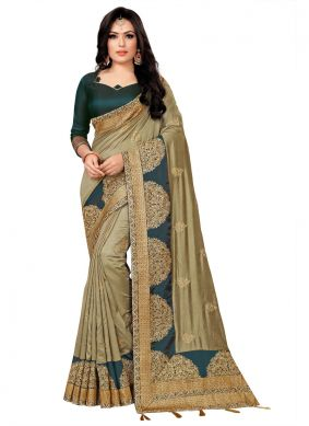 Silk Beige Embroidered Classic Saree