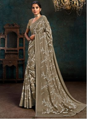 Silk Beige Fancy Traditional Designer Saree