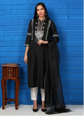 Silk Black Embroidered Readymade Suit