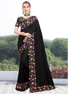 Silk Black Traditional Designer Saree