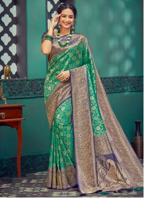 Silk Blue and Green Weaving Traditional Saree