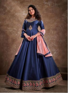 Silk Blue Embroidered Readymade Anarkali Suit