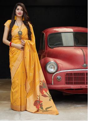 Silk Classic Saree in Orange