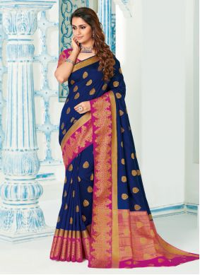 Silk Contemporary Saree in Blue