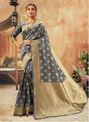 Silk Contemporary Saree in Grey
