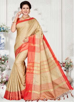 Silk Cream and Red Weaving Traditional Saree