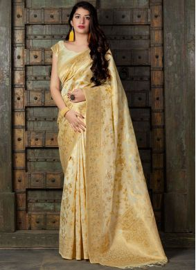Silk Cream Classic Saree