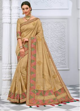 Silk Cream Designer Saree