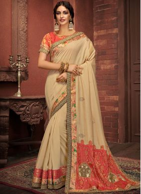 Silk Cream Digital Print Classic Saree