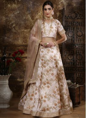 Silk Designer Lehenga Choli in Off White