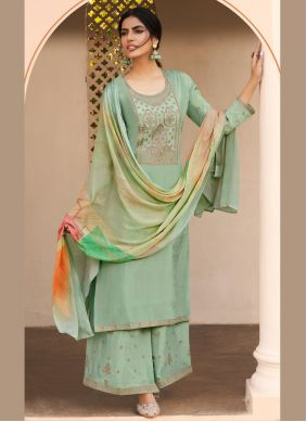 Sea Green Silk Designer Pakistani Salwar Suit