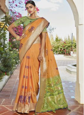Silk Designer Saree in Orange