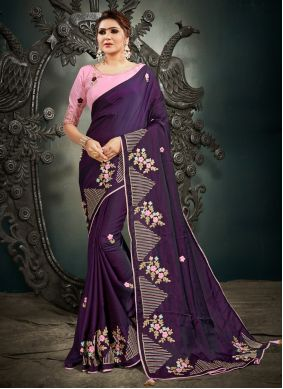 Purple Silk Designer Traditional Saree